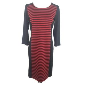 Spense Womens Shirt Shift Midi Dress 8 Red Black